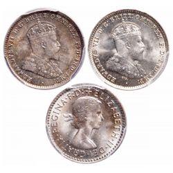 Australia. Lot of three (3) PCGS graded Gem 3 Pence.