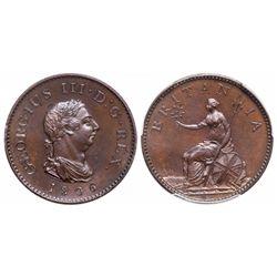 Great Britain. Farthing. 1806. PCGS PR-64 Brown.