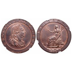 Great Britain. Penny. 1797. NGC MS-64 Red-Brown.