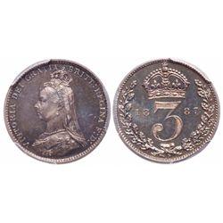 Great Britain. 3 Pence. 1887. PCGS PR-65 Cameo.