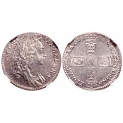 Great Britain. 6 Pence. 1696. NGC MS-63.