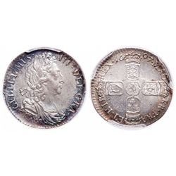 Great Britain. 6 Pence. 1697. PCGS MS-65.