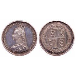 Great Britain. Shilling. 1887. PCGS PR-65 Cameo.