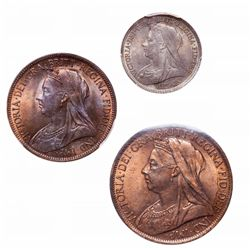 Great Britain. Lot of three (3) late Victorian coins.