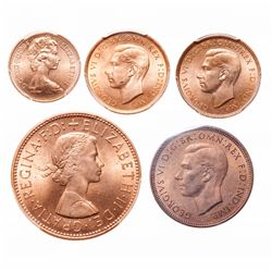 Great Britain. Lot of five (5) high-grade red coppers.
