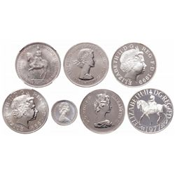 Great Britain. Lot of seven (7) coins of Elizabeth II.