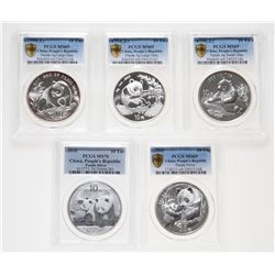 China. Lot of five (5) PCGS certified 10 Yuan, 1 oz.999 Silver Pandas.