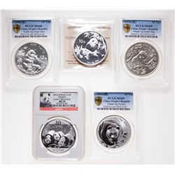 China. Lot of five (5) certified 10 Yuan, 1 oz. 999 Silver Pandas.