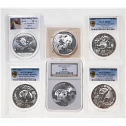 China. Lot of six (6) certified 10 Yuan, 1 oz. 999 Silver Pandas.