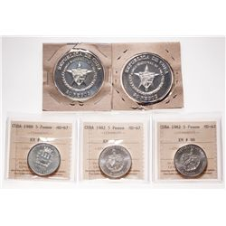 Cuba. Lot of five (5) silver coins.