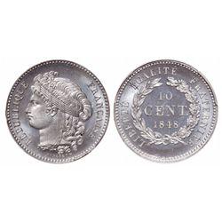 France. 10 Centimes. 1848. PCGS SP-66+.