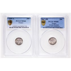 France. Lot of two (2) PCGS graded Gem Unc MS-66 20 Centimes.