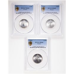 France. Lot of three (3) PCGS-graded Gem Unc Francs.