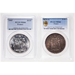 France. Lot of two (2) PCGS-graded coins in MS-66.