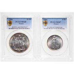 France. Lot of two (2) PCGS Superb Gem coins of 1966.