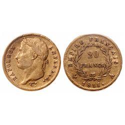 France. 20 Francs. 1811A. ICCS F-12.