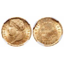 France. 20 Francs. 1813 A. NGC MS-64.