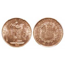 France. 20 Francs. 1897 A. PCGS MS-64.