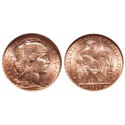 France. 20 Francs. 1907. NGC MS-65.