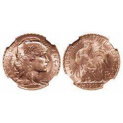 France. 20 Francs. 1910. NGC MS-65.