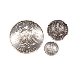 Germany. Lot of three (3) Uncirculated 19th century silver coins of Frankfurt.