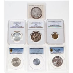 Germany. Lot of seven (7) certified coins.