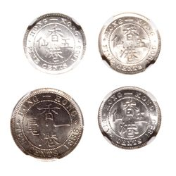 Hong Kong. Lot of four (4) certified silver coins.