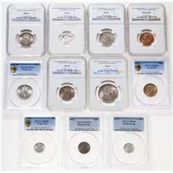 Hong Kong. Lot of eleven (11) certified coins.
