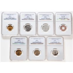 India. Lot of seven (7) NGC-Graded Gem coins.