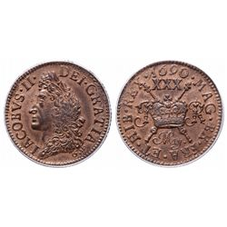 Ireland. 1/2 Crown. 1690-MAY. PCGS MS-63.