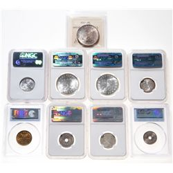 Japan. Lot of nine (9) Gem Uncirculated certified coins.