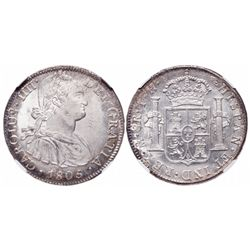 Mexico. 8 Reals. 1805/04 MO TH. NGC MS-64.