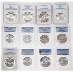 Mexico. Lot of twelve (12) Gem Uncirculated silver coins.