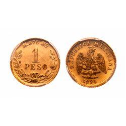 Mexico. Peso. 1898/7 MO M. PCGS MS-64+.