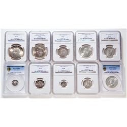 South Africa. Lot of ten (10) Proof and Proof-Like certified coins.