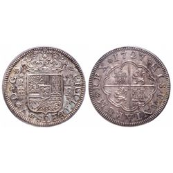 Spain. 2 Reals. 1727 F. PCGS MS-63.