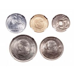 Spain. Lot of five (5) Gem Uncirculated coins.