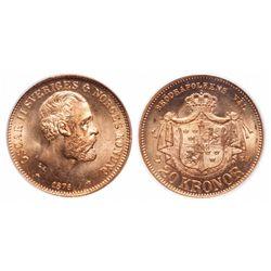 Sweden. 20 Kronor. 1876 EB. PCGS MS-66.