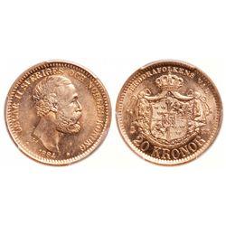 Sweden. 20 Kronor. 1884 EB. PCGS MS-67.
