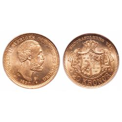 Sweden. 20 Kronor. 1890 EB. PCGS MS-66.