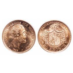 Sweden. 20 Kronor. 1898 EB. PCGS MS-66.