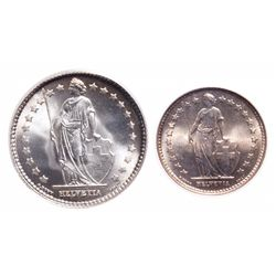 Switzerland. A pair of silver coins from 1921-B.