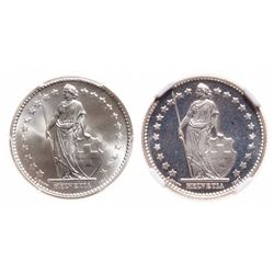 Switzerland. A Pair of silver Francs.