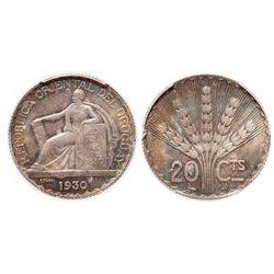 Uruguay. 20 Centisimos. 1930. PCGS MS-65.