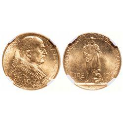 Vatican. 100 Lira. 1929. NGC MS-65.