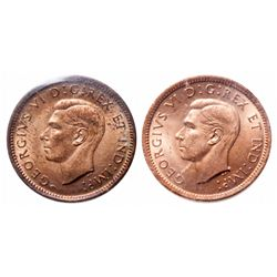 1 Cent. A pair of 1937 cents, ICCS graded MS-65 Red and MS-66 Red. Lot of Two (2) pcs.
