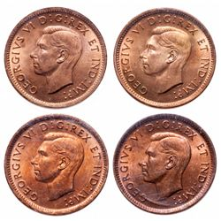 1 Cent. Lot of 4 ICCS graded George VI cents, all MS-65 Red.