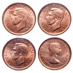 1 Cent. Lot of 4 ICCS graded cents, all MS-65 Red.