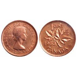 1 Cent. 1953. Shoulder Fold. ICCS MS-65 Red.