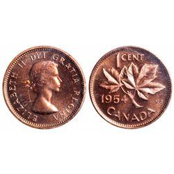 1 Cent. 1954. No Shoulder Fold. ICCS PL-65 Red.
